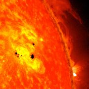 Two new sunspots are rapidly forming on the sun. They have already grown to over six Earth diameters across