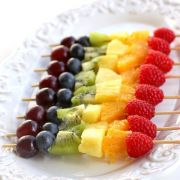 Fed up of seeing cookies and pizza when I'm loosing weight - pretty rainbow fruit kebabs. Because not all food porn = diabeties