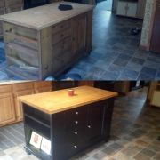 I was given a kitchen island in rough shape and turned it into this