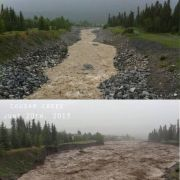 Flooding in Canmore, Alberta, Canada.