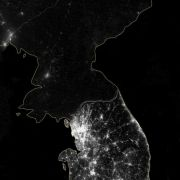 North Korea vs South Korea at night time