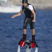 Leonardo DiCaprio flyboarding while on vacation in Ibiza.