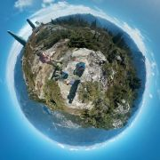 Hiked up to the top of a mountain and used my phone to create this tiny planet picture.