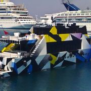 Jeff Koons designed 115 Yacht *Guilty*, Greece. Not a Koons paint design as it mimics a WWII camouflage design called Dazzle.
