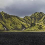 Moss covered mountains in the southwest of Iceland.