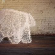 Bear sculpture made only from zip-ties