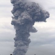 A volcanic eruption at Mount Lokon, Sulawesi, Indonesia