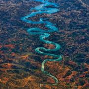 The blue dragon river in Portugal