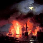 Battle of Cesme at Night, by Ivan Aivazovsky