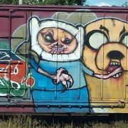 Train graffiti - Adventure Time on bath salts