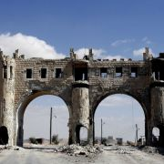 An archway on a road leading to Syria's ancient Christian town of Maalula, as fighting continues between government forces and rebel fighters, on September 18, 2013.