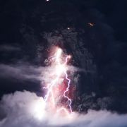 Lightning inside a volcanic ash cloud