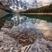 The Big freeze is beginning and the ice is starting to take over Moraine Lake - photo by Jesse McLean