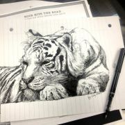 I drew this tiger today during my noir literature class.