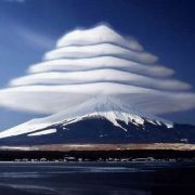 Lenticular clouds from Mount Fuji.