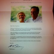 Last year during the election, I sent my republican coworker a FAKE thank you letter from Mitt Romney. It's still hanging up in his office.