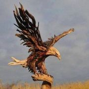 An eagle made from driftwood