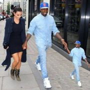 Kanye taking a stroll with his favorite person. And Kim.