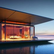 Bedroom in a floating house designed by Myitr Malcew