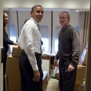 Obama and Bush flew to Nelson Mandela's funeral together