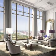 Great room of a planned 1,000ft residential tower in NYC overlooking Central Park