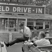 While campaigning for his brother Robert Kennedy stops for lunch in Bluefield West Virginia, 1960