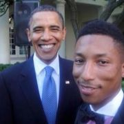 Obama looks like Pharrell's dad dropping him off for Prom.