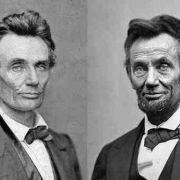 The first and last portrait photos of Lincoln as President. May 1860 and Feb 1865