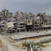 A neighborhood of Homs, Syria, after 2 years of siege by the regime, during an evacuation trust on May 10