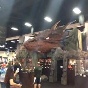 Hobbit booth at Comic Con, with a slightly-animatronic blinking Smaug