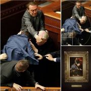 Someone took a candid photo of a fight in Ukranian Parliament that is as well-composed as the best renaissance art