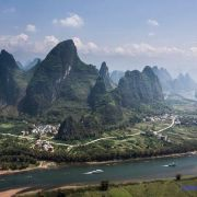 very beauty yangshuo china from top of mountain