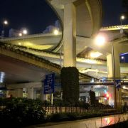 The only six-level stack interchange in the world; Puxi, Shanghai, China