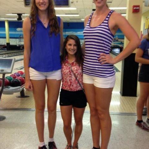 Two tallest UCF volleyball players and shortest cheerleader