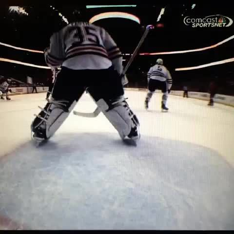 Ovi destroys the net cam with a slapshot.