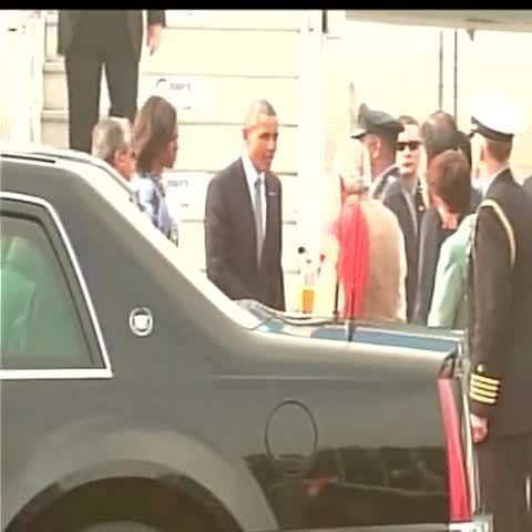 Air Force One has landed. Video of Obama-Modi bromance hug.