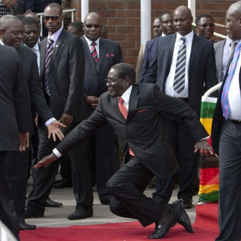 Robert Mugabe, the dictator of Zimbabwe and all around asshole, is trying to suppress pictures of him falling over in Harare airport.