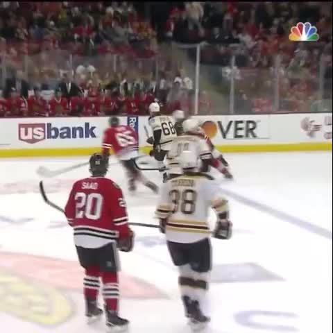 Andrew Shaw tries to take a run at Dennis Seidenberg...does not end well for Shaw.