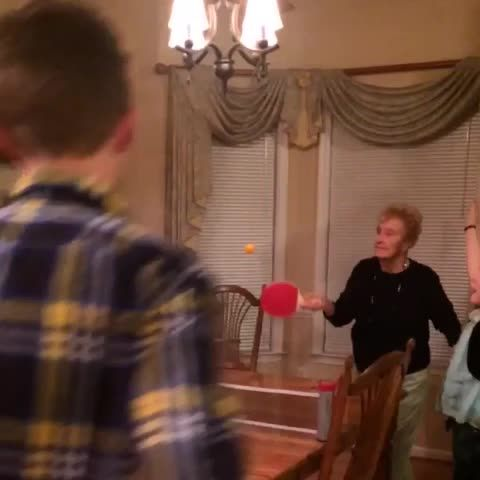Grandmom is great at ping pong
