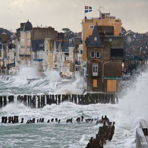 Rough sea at St. Malo, France