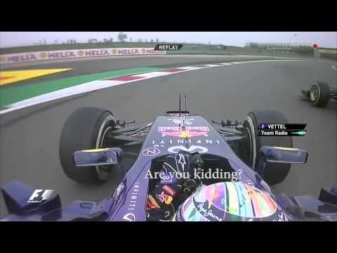 Vettel passed by a lapped Caterham (Kamui Kobayashi) Chinese GP 2014