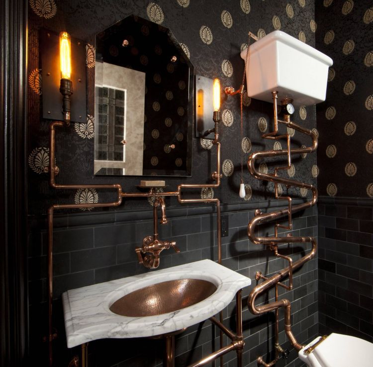Not specifically my taste, but very well done and very interesting steampunk bathroom