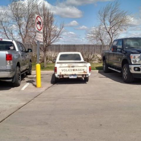 My Volkswagen Rabbit looks like a toy next to these normal trucks