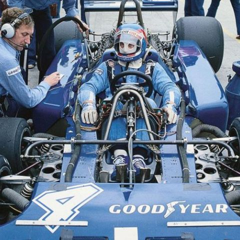 The Tyrrell P34B, a Formula One car raced in 1976. Driven here by Patrick Depallier. The smaller front wheels were an attempt to remove the wheel's profile from the airflow over the car.