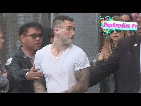 Adam Levine Attacked by Sugar Bomb while greeting fans after Maroon 5 Performance at Jimmy Kimmel