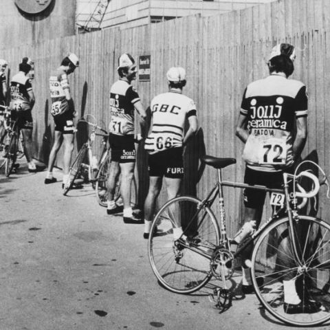 Cyclists prepare for the start of the 56th Giro d'Italia cycling race in Italy, 1973