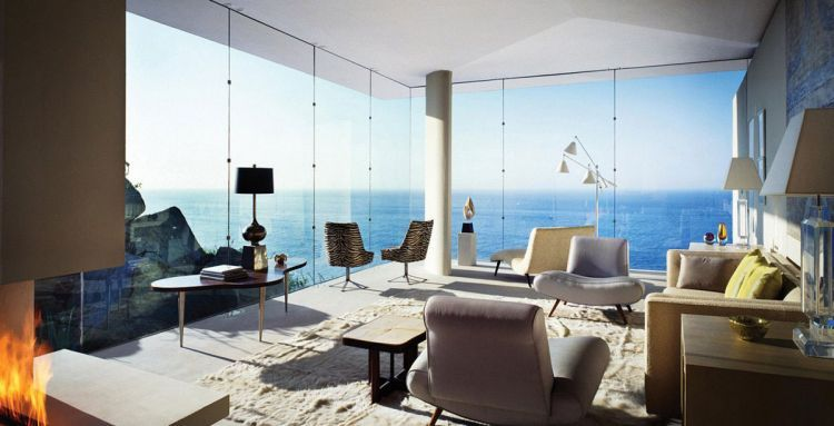 Living room with expansive view of the ocean in Cabo San Lucas, Mexico