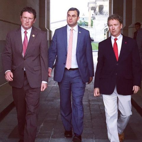 Thomas Massie, Justin Amash, and Rand Paul leave the Senate after successfully blocking the Patriot Act renewal