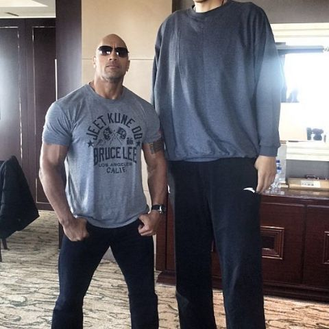 Sun Ming Ming and Dwayne Johnson