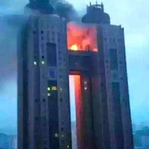 North Korea's national hotel just caught on fire, and they're trying to suppress any pictures of the event like nothing ever happened.